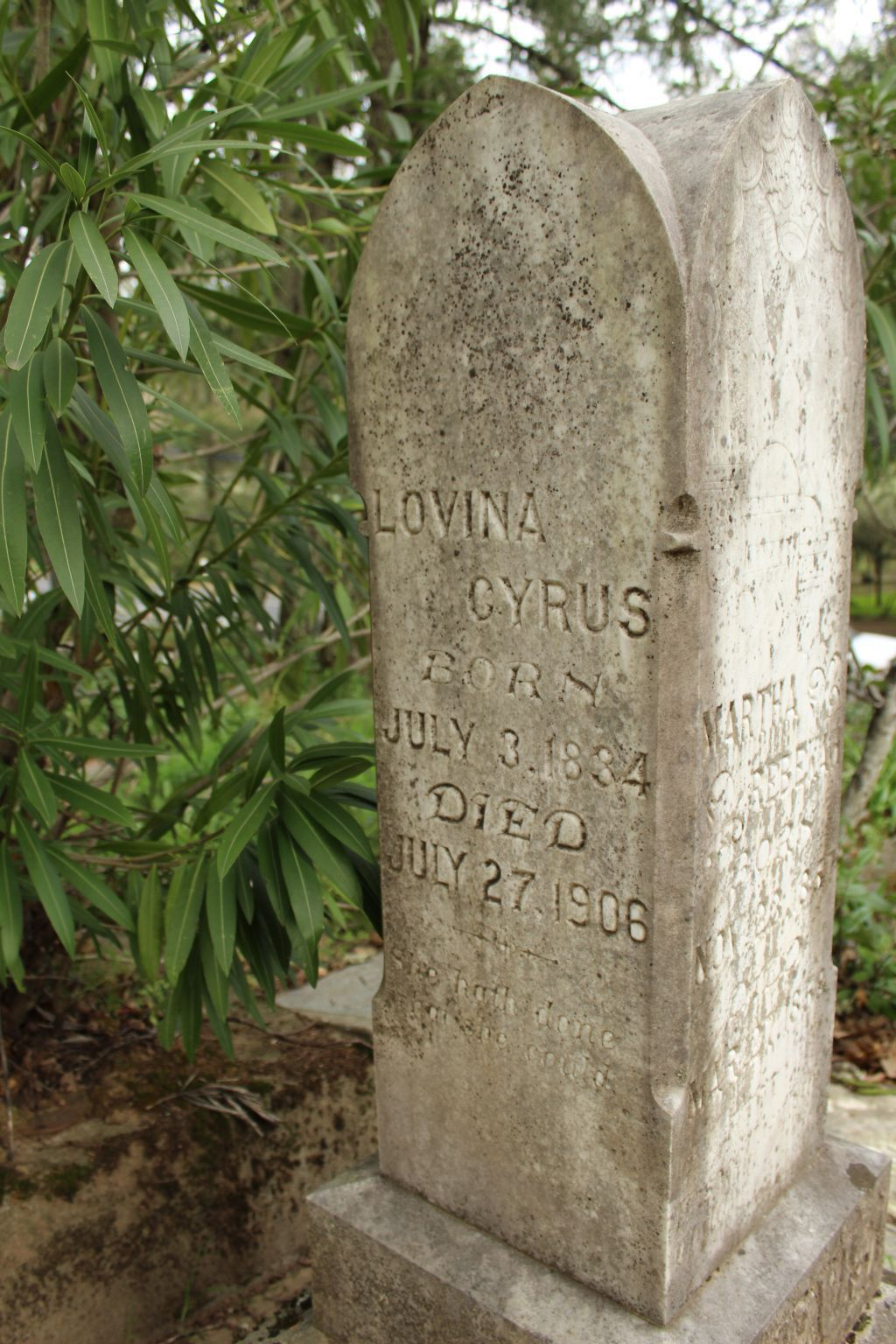 Headstone of Lovina and John Cyrus