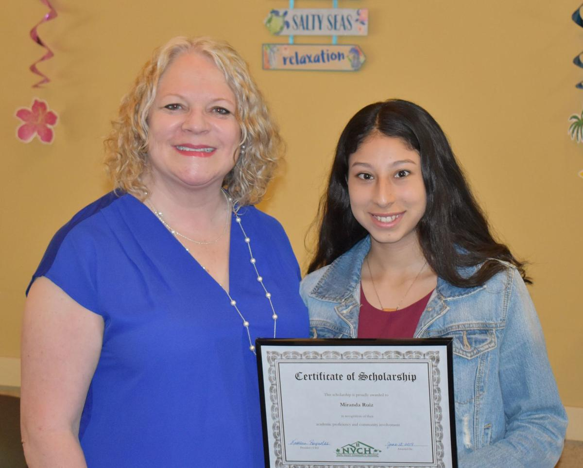 Kathleen Reynolds, president and CEO of NVCH, with scholarship winner Miranda Ruiz.