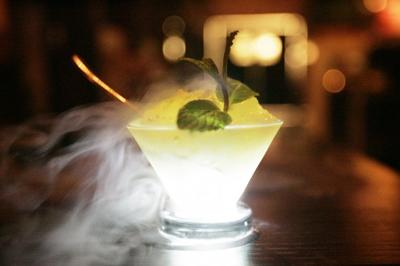 Eiko's general manager Fellippe Esteves uses liquid nitrogen in cocktails and desserts
