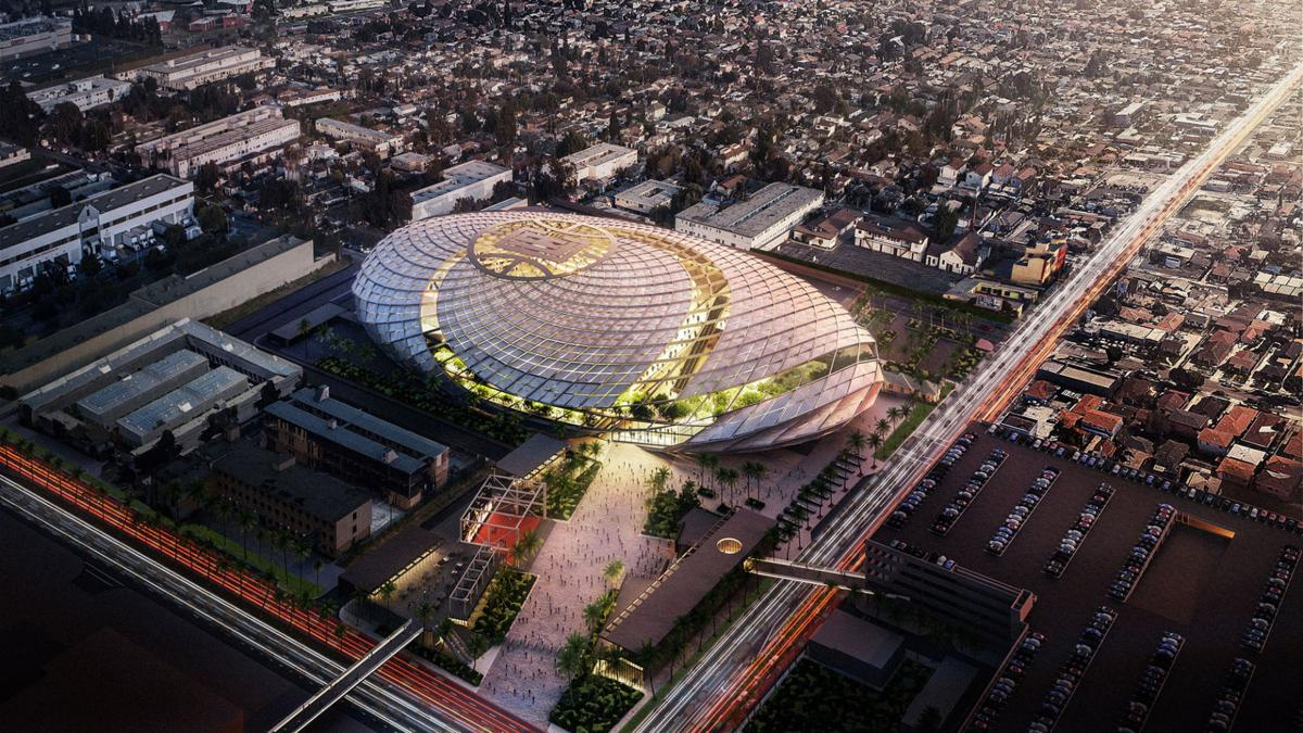 An aerial view rendering of the Clippers' proposed arena in Inglewood, Calif.