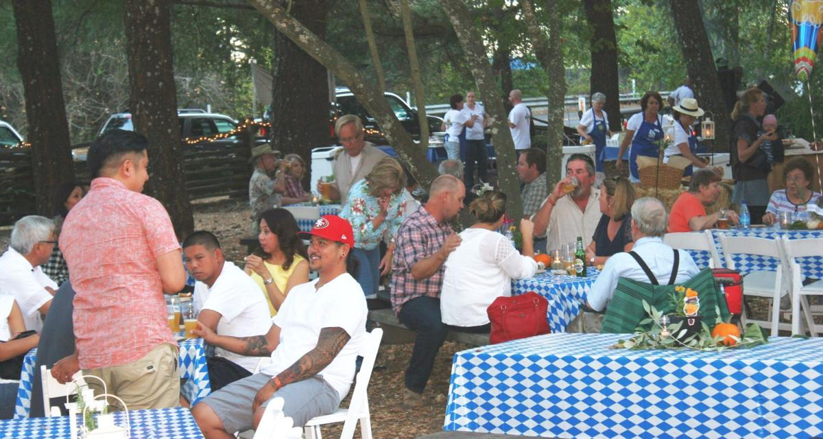 Bale Grist Mill transformed into a German beer garden at Oktoberfest