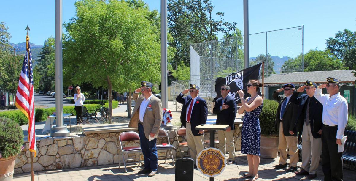 National Anthem at Memorial Day observance in Logvy Park in Calistoga