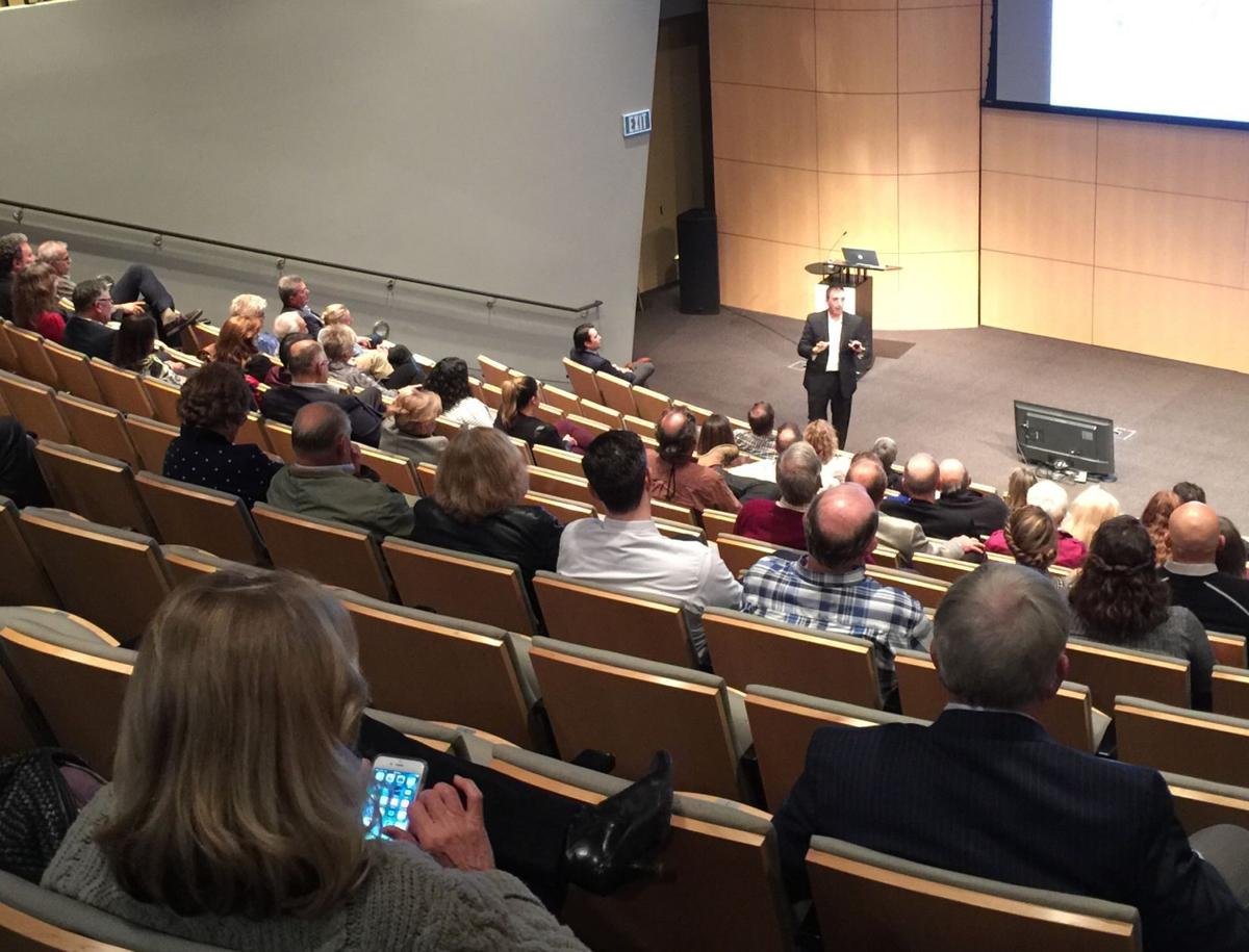 Economist Robert Eyler Ph.D. presented information on Tuesday night at the CIA at Copia about Napa's economy after the fires.