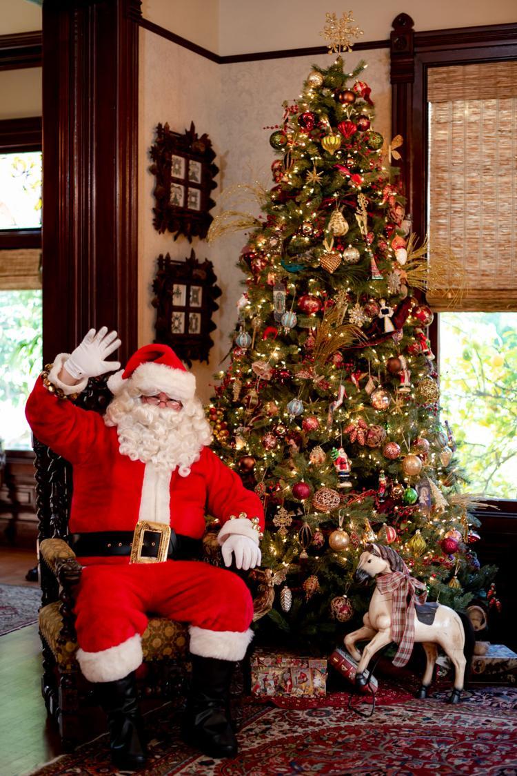 Santa By The Tree Waving