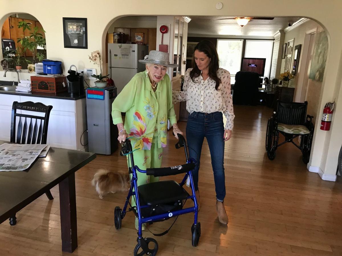 "Napa Valley Senior Living resident Marjorie ""Meg"" Reninger Gohl and business owner Krystal Smith and her dog Lulu."