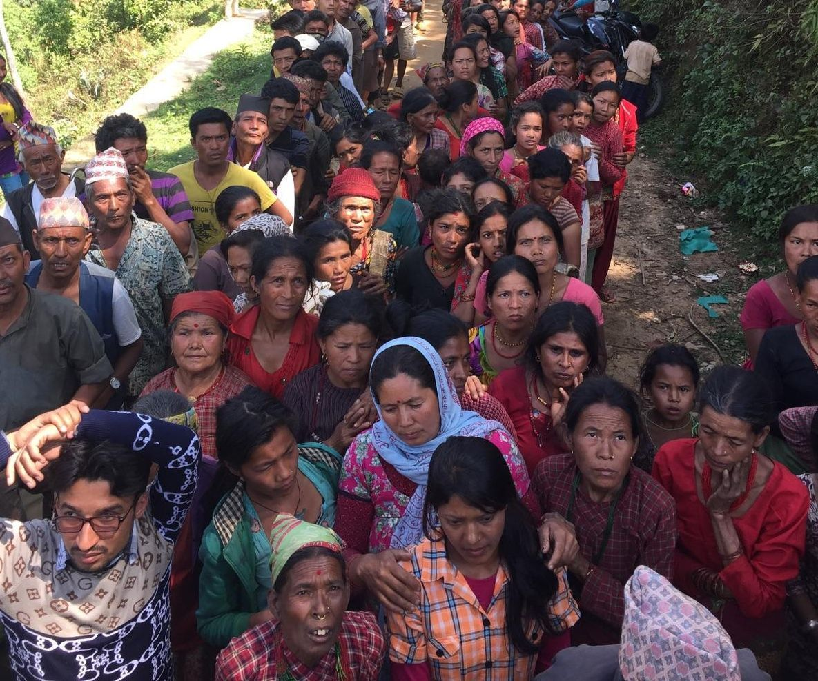 Villagers in line for relief after earthquake in Nepal