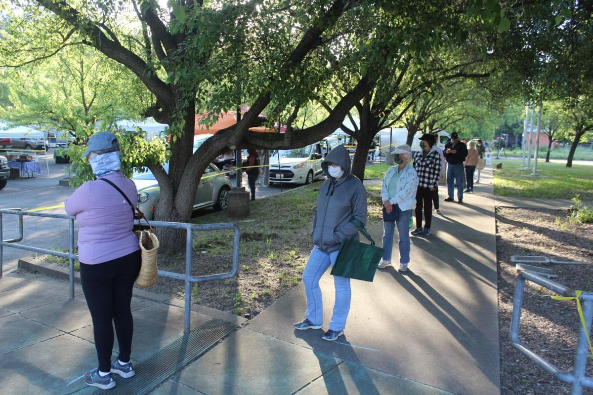 Lining up to enter St. Helena Farmers' Market
