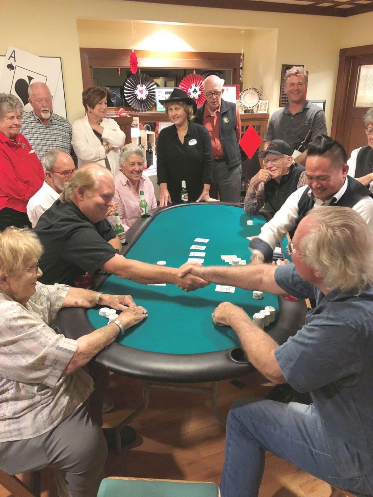 Handshake at poker table