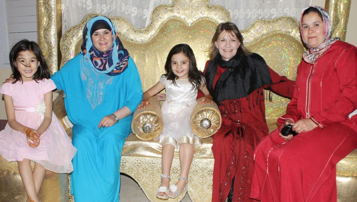 Linda Neal with her host sisters and their daughters during Ramadan