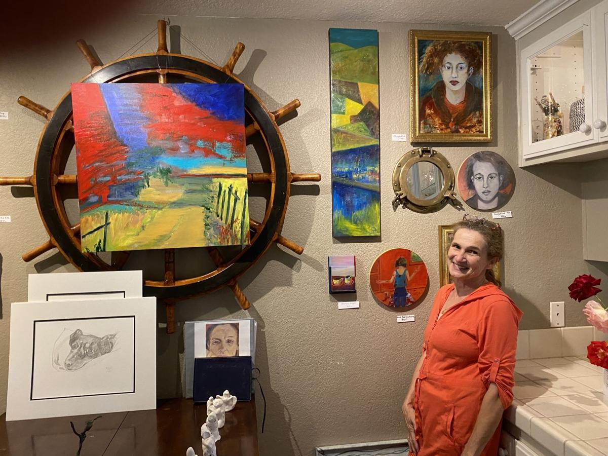 Zaza Fetterly inside her studio