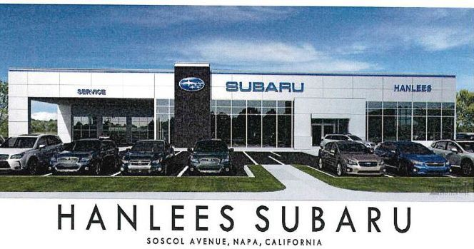 An artist image of the proposed new Hanlees Subaru dealership on Soscol Avenue