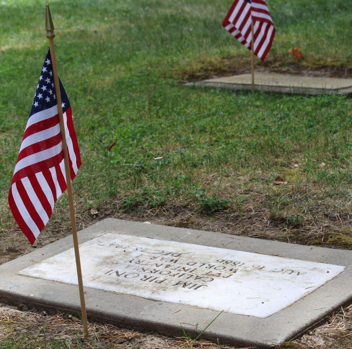 Flag on a grave, St. Helena Cemetery