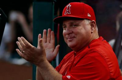 Mike Scioscia, longtime manager of the Angels, is shown on Sept. 11, 2018. He retired at the end of that season.