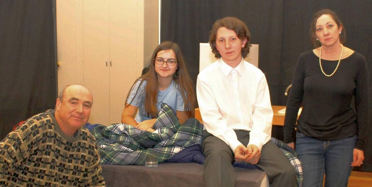 Upstage Napa Valley cast in rehersal for Goldfish at St. Helena Presbyterian Church