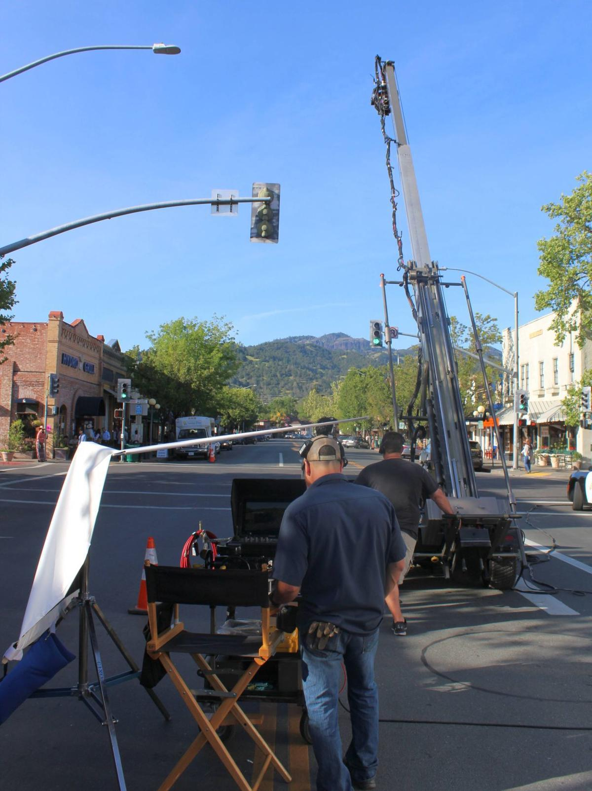 "Taking ""the long shot"" down Lincoln Avenue during the shooting of ""Wine Country"" in Calistoga"