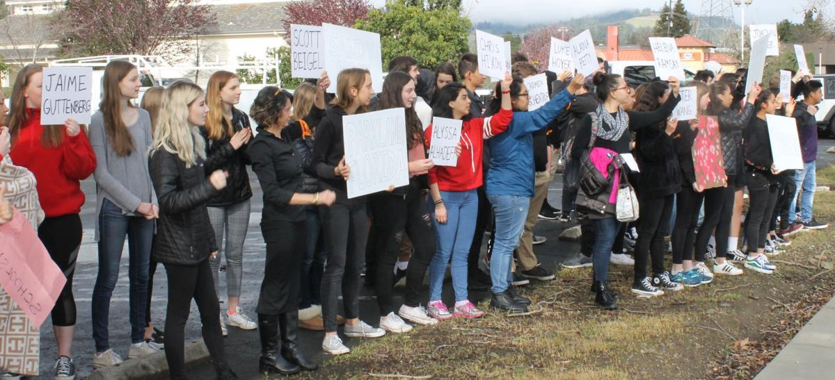 Students demonstrate on Main Street