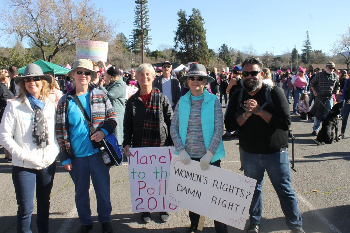 """""""Women Stand Up"""" group represent St Helena in Women's March Napa Valley"""