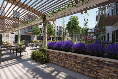 An outdoor area at the new Watermark at Napa Valley senior living community on Solano Avenue.