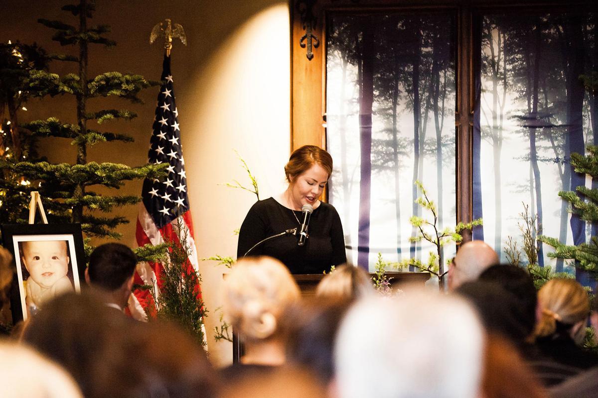 Amanda Krueger of Napa speaks at her son's funeral