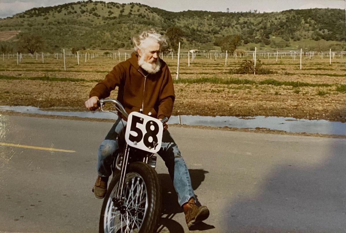 Jack Christianson rides a Harley-Davidson