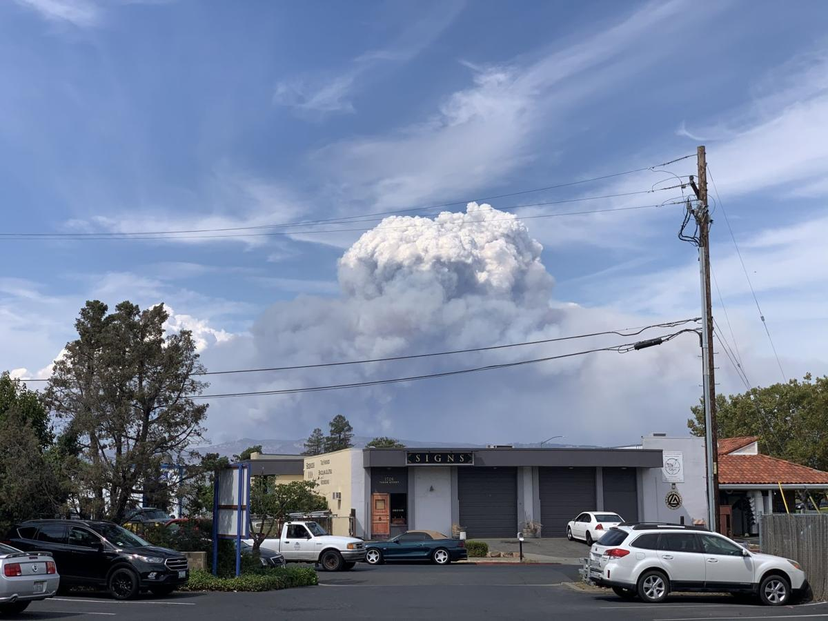 Hennessey fire as seen from Soscol Ave. 3pm Tuesday