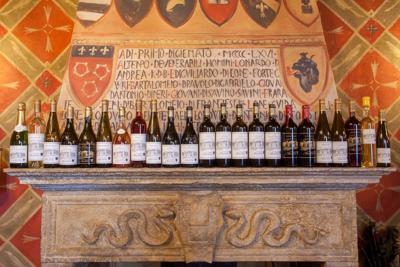 Wine bottle line-up at Castello di Amorosa