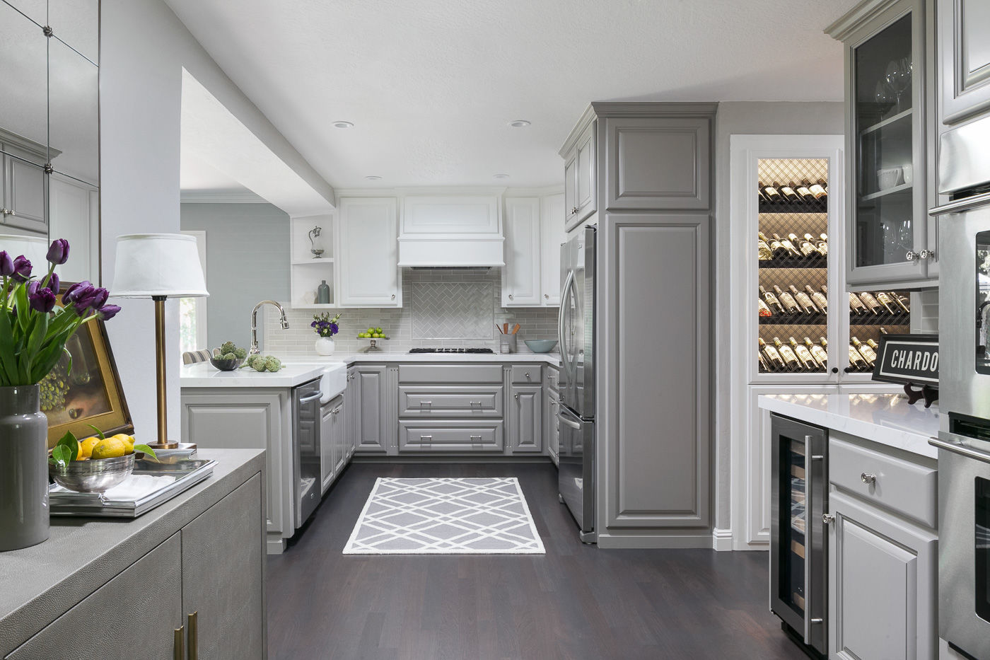 Miyuki Yamaguchi advised her clients to keep the original cabinets but to paint some gray and some white and add a custom cover over the hood for this ... & Why hire a designer? A Napa homeowner provides some answers | Home ...