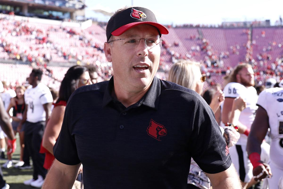 Louisville football coach Scott Satterfield on the field after a win against Boston College on October 5, 2019, at Cardinal Stadium in Louisville, Ky.