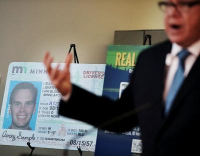 Tim Walz was on hand for a press conference debuting the new REAL ID Office at MSP Airport in March 2020.