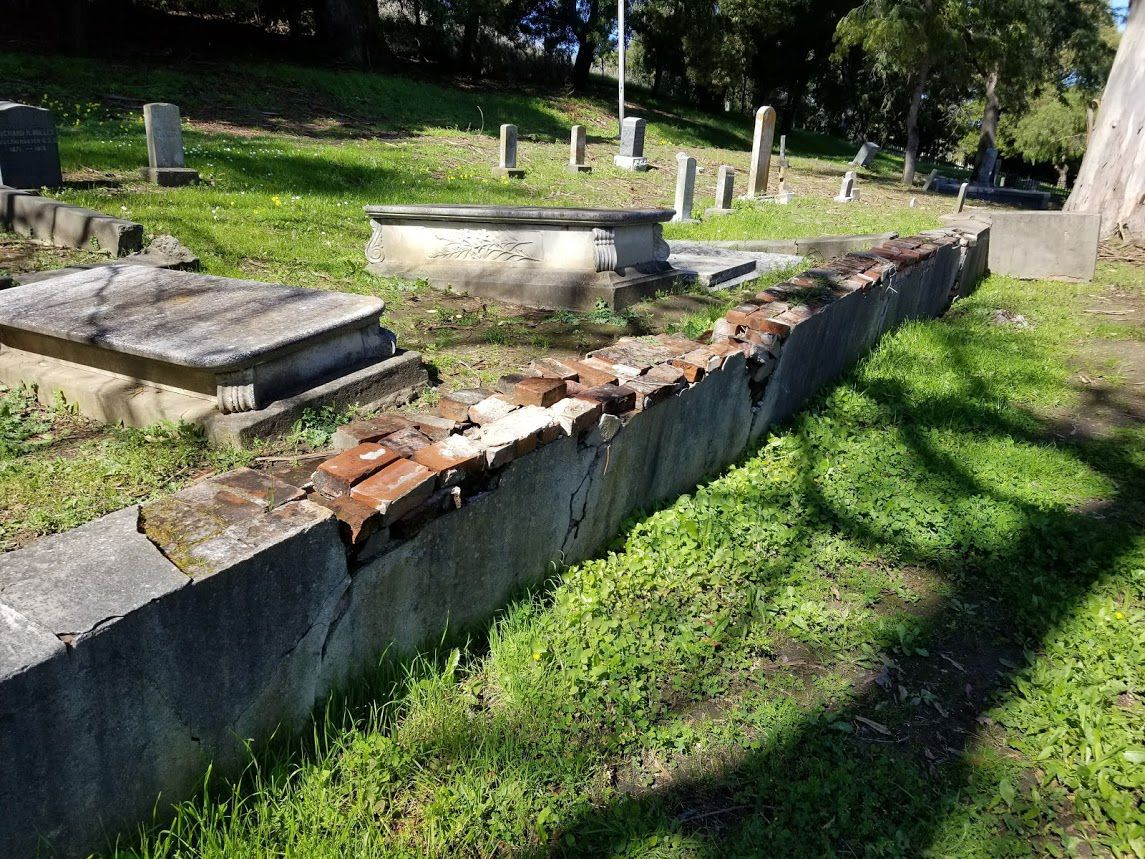 Mare Island cemetery, crumbling wall