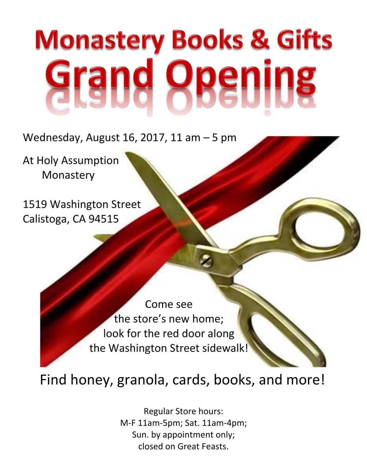 Monastery Books And Gifts Grand Opening Calistoga Wine Business
