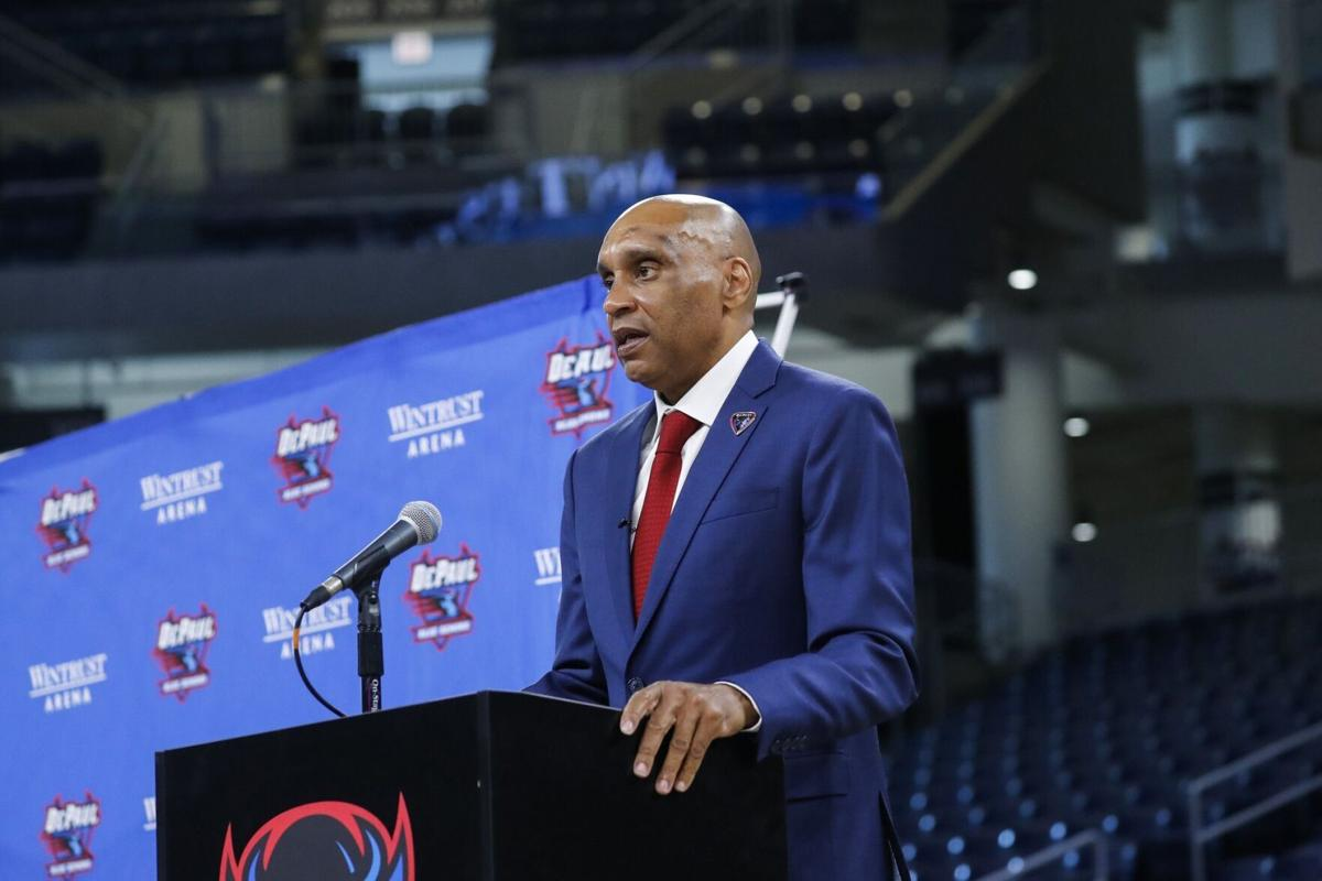 Tony Stubblefield addresses the media after he was introduced as the new DePaul men's basketball coach on April 7, 2021, at Wintrust Arena in Chicago.