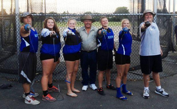 Napa Track Club hammer throwers