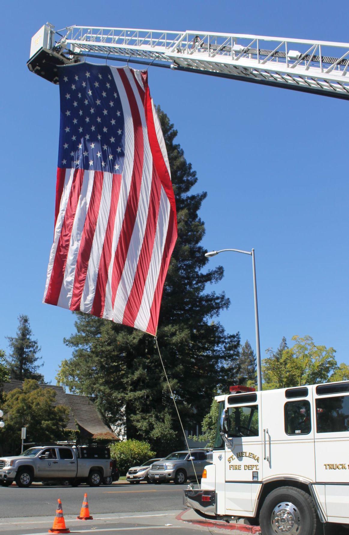American flag flies over Highway 29