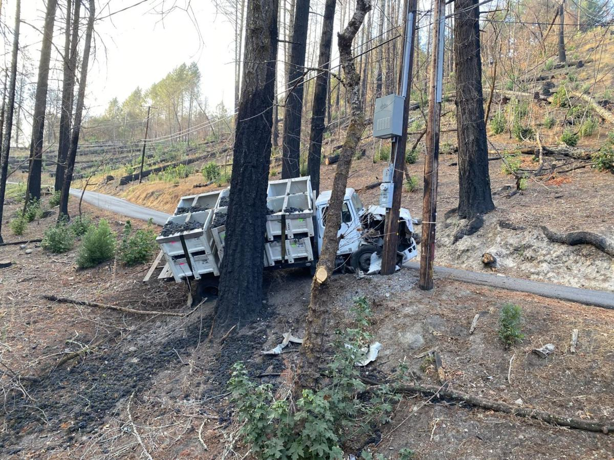 Grape truck crashes on Old Howell Mountain Road