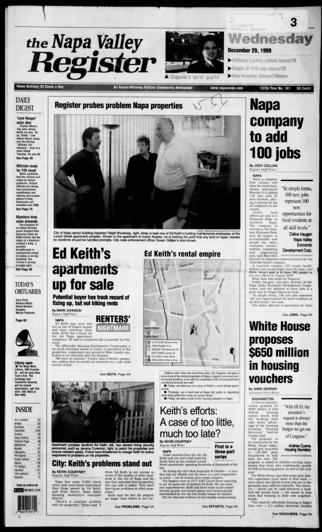 Ed Keith Napa Valley Register Dec 29 1999