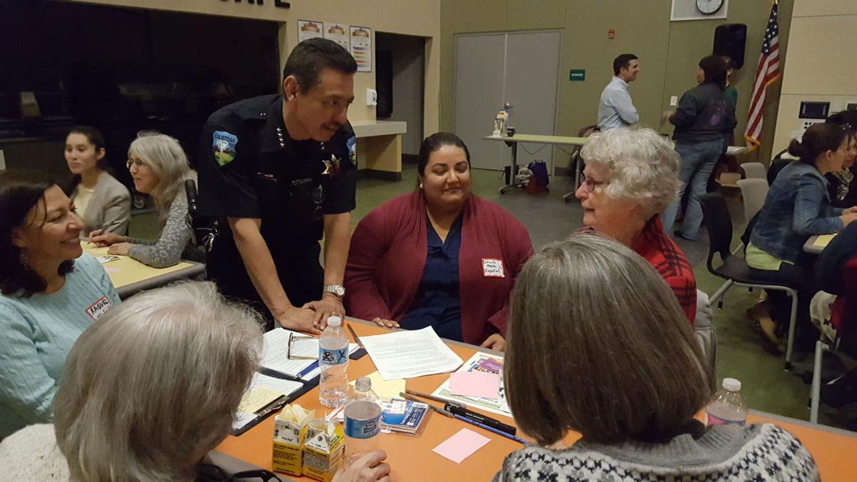 Calistoga's Chief of Police, Mitch Celaya, chats with residents at 'Healthy Calistoga'