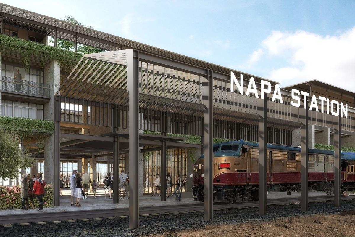 An artist image of the proposed Wine Train station from inside the station