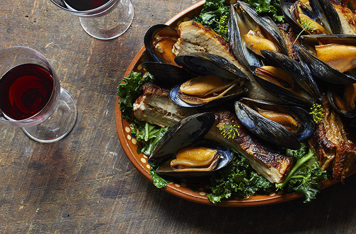 Braised Pork Belly with Mussels and Kale