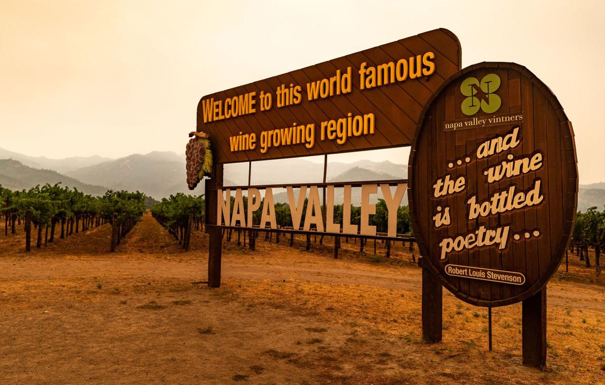 Napa Valley fire smoke at welcome sign