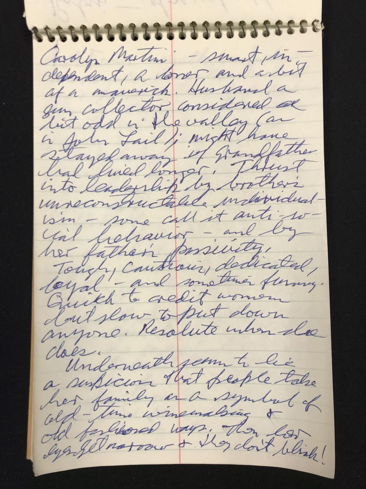Notebook page about Carolyn Martini.jpg