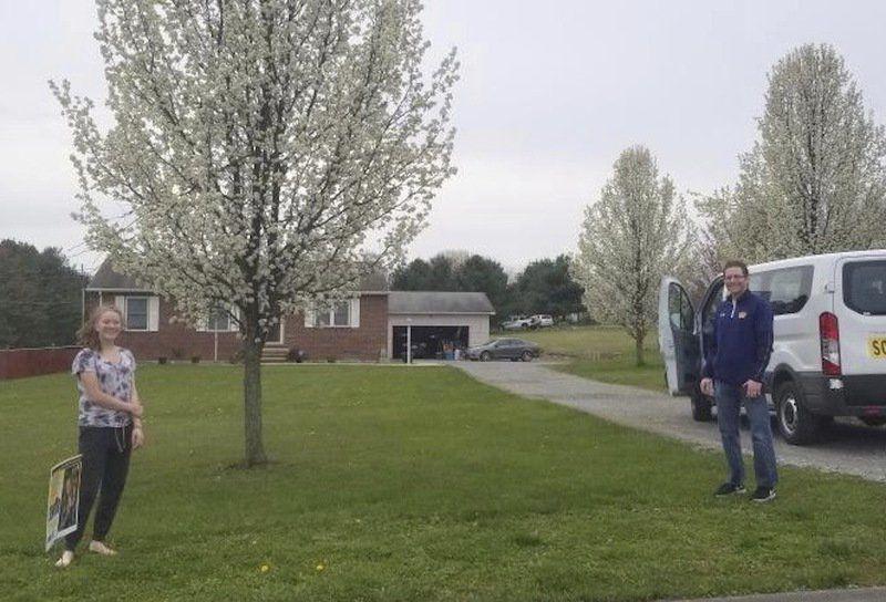 Seniors being surprised by front-yard postings