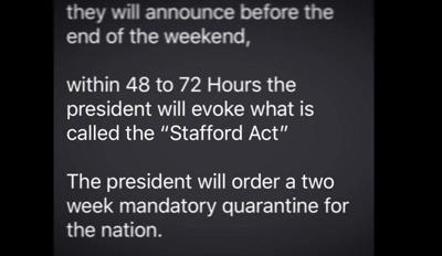 National Guard, Stafford Act text a fake