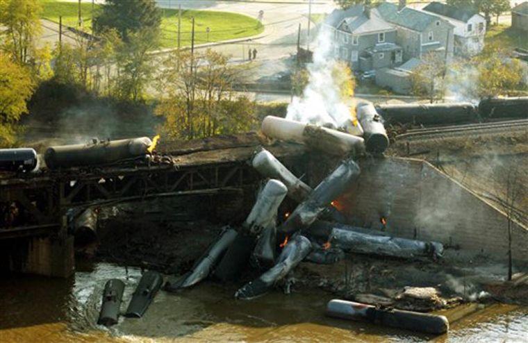 TRAIN DERAILMENT: Investigators probing cause of fiery crash