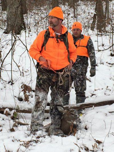 Deer hunting in the snow