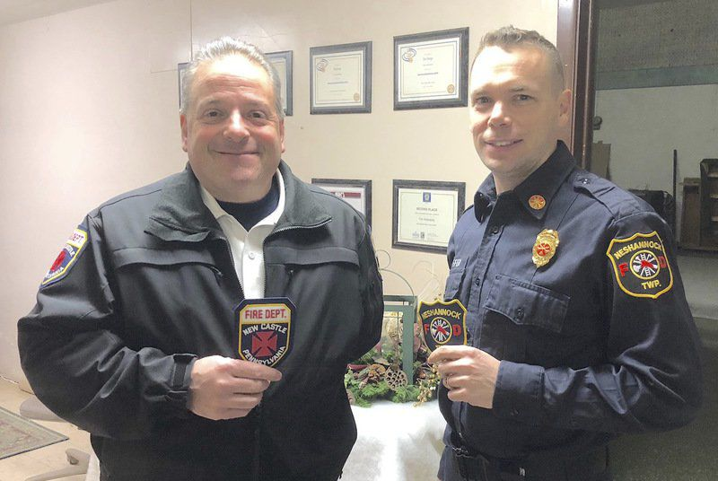 Fire patches ride to space station New Castle, Neshannock fire patch displayed by astronaut