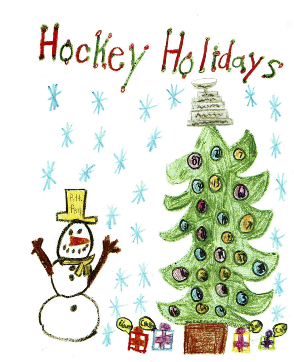 Pittsburgh Penguins Christmas Card 2020 Penguins choose Union girl's design for holiday card | News