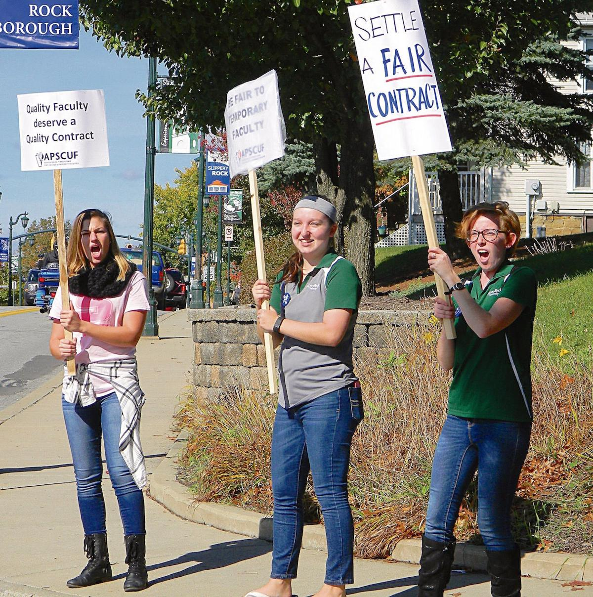5abb625c Students joining the picket lines with their professors at Slippery Rock  University, include, from left, Kelly Lane of New Brighton, Kyla Calhoun of  ...