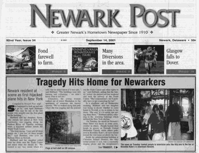 Newark Post 9/11 front page