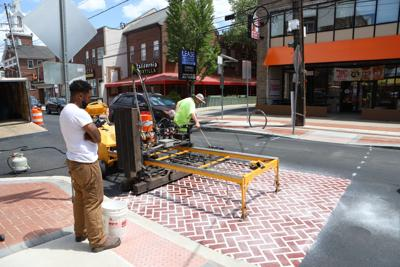 Faux brick on Main Street